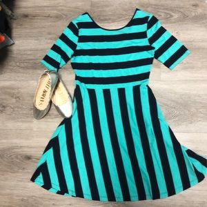 Crown and Ivy mint and navy stripe dress